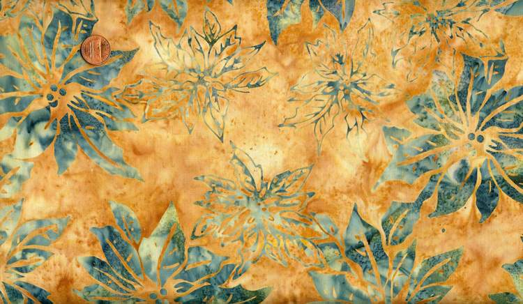 "... CLEARANCE - 16"" BALI BATIK BLUE POINSETTIAS ON GOLD CHRISTMAS FABRIC"