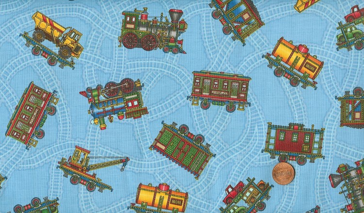 1 yd 39 choo choo 39 tossed trains border on blue fabric for Train print fabric