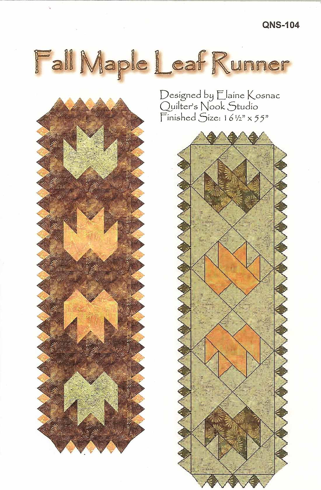Maple Leaf Quilt Pattern Table Runner :  FALL MAPLE LEAF RUNNER QUILT PATTERN eBay