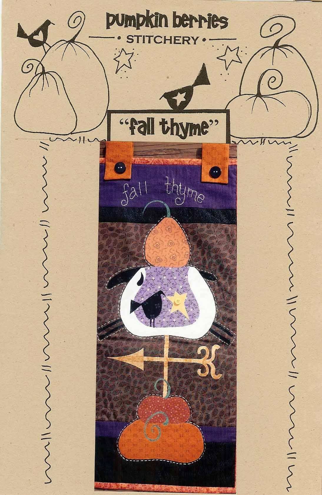 Pumpkin Berries Fall Thyme Primitive Scarecrow Quilt
