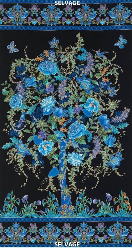 Tree Of Life Floral Tree Panel On Black Fabric