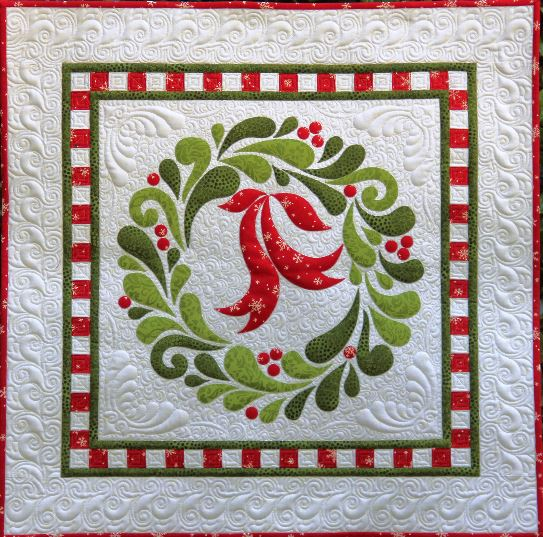 Quilt Pattern For Christmas Wreath :  FEATHER FANCY CHRISTMAS WREATH APPLIQUE WALL HANGING QUILT PATTERN eBay