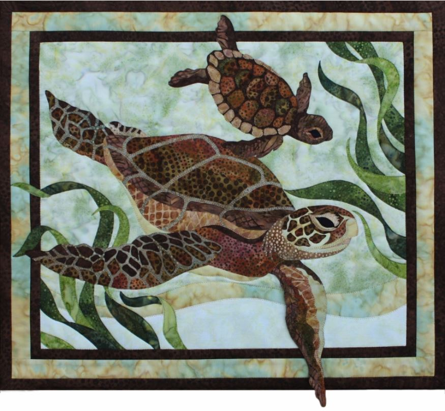 Sea Turtles Toni Whitney Applique Wallhanging Quilt
